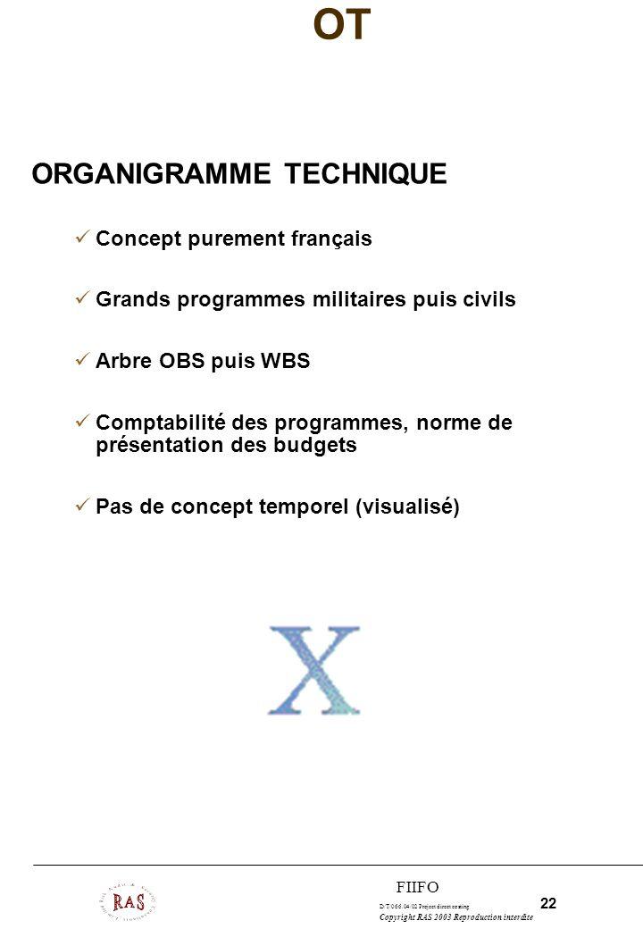 D/T/066.04/02 Project direct costing 22 Copyright RAS 2003 Reproduction interdite FIIFO OT ORGANIGRAMME TECHNIQUE Concept purement français Grands pro