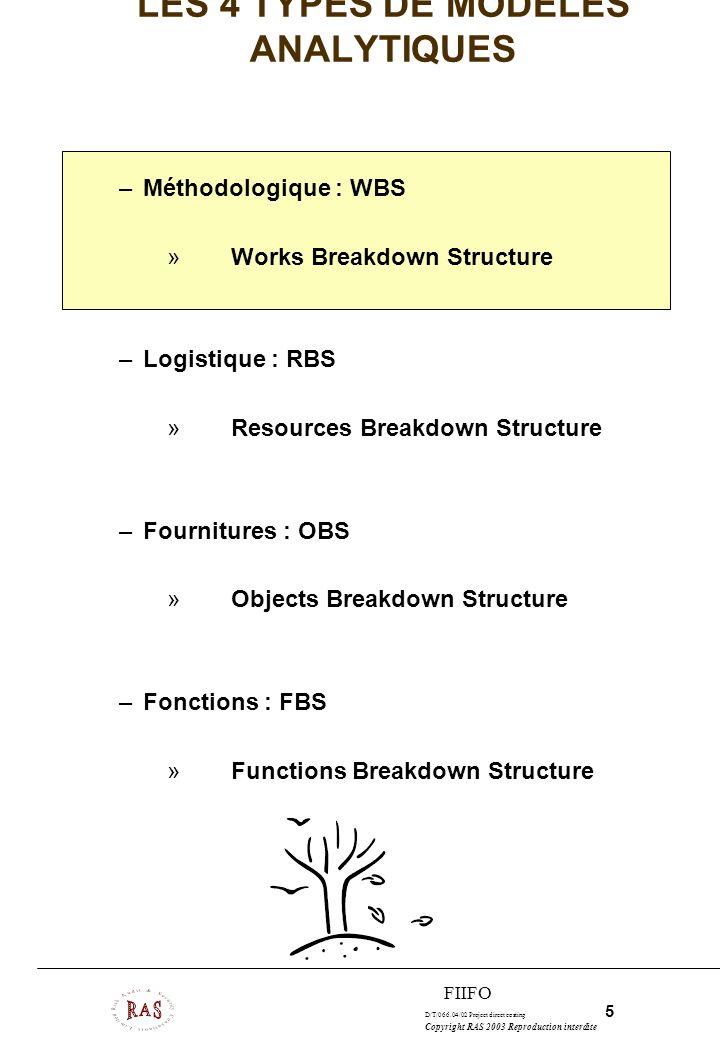 D/T/066.04/02 Project direct costing 5 Copyright RAS 2003 Reproduction interdite FIIFO LES 4 TYPES DE MODELES ANALYTIQUES –Méthodologique : WBS »Works