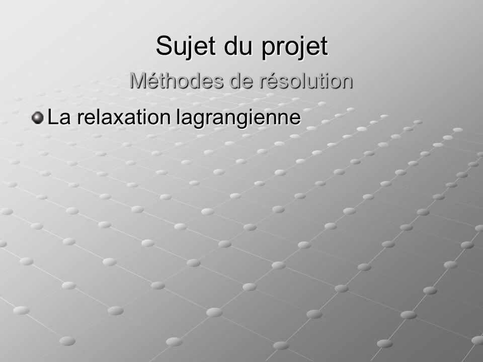 Sujet du projet La relaxation lagrangienne Méthodes de résolution
