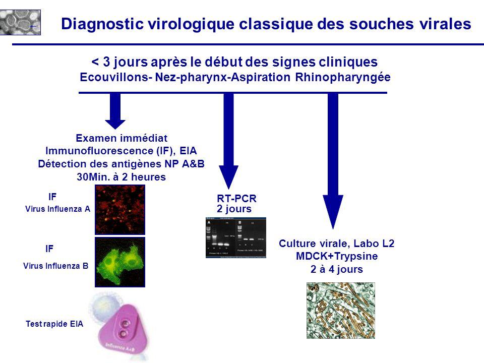 Diagnostic virologique classique des souches virales Virus Influenza B Virus Influenza A < 3 jours après le début des signes cliniques Ecouvillons- Ne