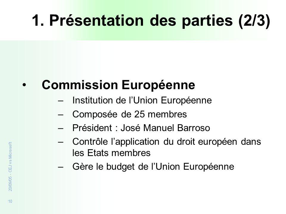 10 20/09/05 - CEJ vs Microsoft 1. Présentation des parties (2/3) Commission Européenne –Institution de lUnion Européenne –Composée de 25 membres –Prés