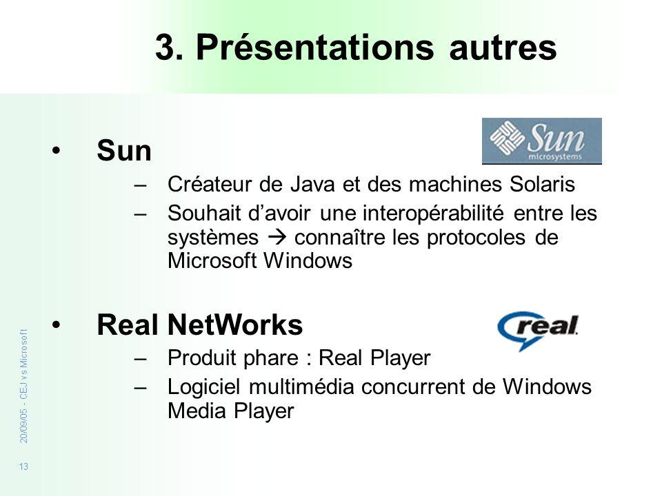 13 20/09/05 - CEJ vs Microsoft 3. Présentations autres Sun –Créateur de Java et des machines Solaris –Souhait davoir une interopérabilité entre les sy