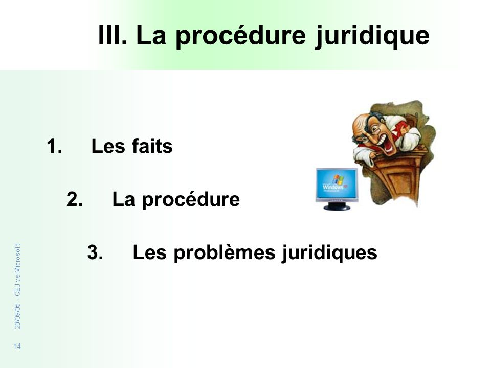 14 20/09/05 - CEJ vs Microsoft III. La procédure juridique 1.Les faits 2. La procédure 3. Les problèmes juridiques