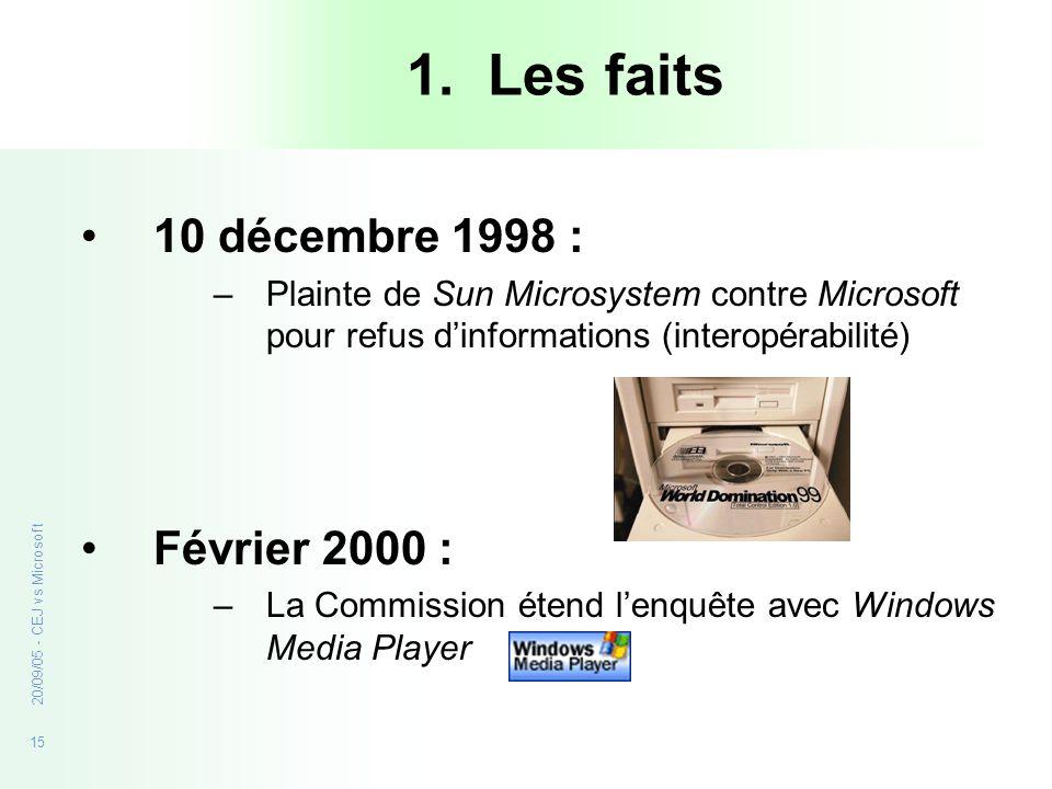 15 20/09/05 - CEJ vs Microsoft 1. Les faits 10 décembre 1998 : –Plainte de Sun Microsystem contre Microsoft pour refus dinformations (interopérabilité