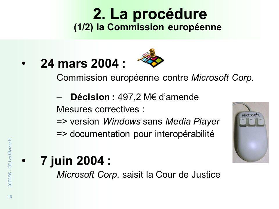16 20/09/05 - CEJ vs Microsoft 2. La procédure 24 mars 2004 : Commission européenne contre Microsoft Corp. –Décision : 497,2 M damende Mesures correct