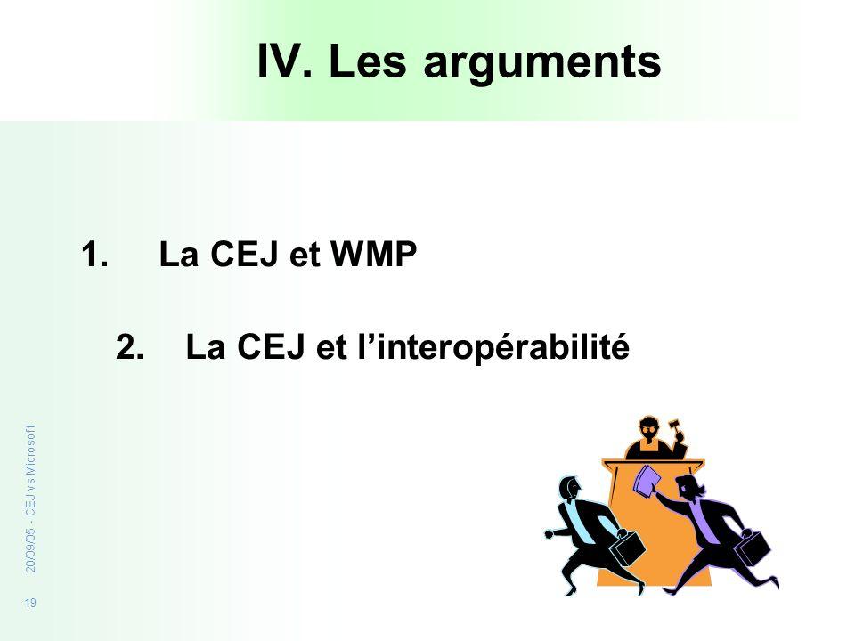 19 20/09/05 - CEJ vs Microsoft IV. Les arguments 1.La CEJ et WMP 2. La CEJ et linteropérabilité
