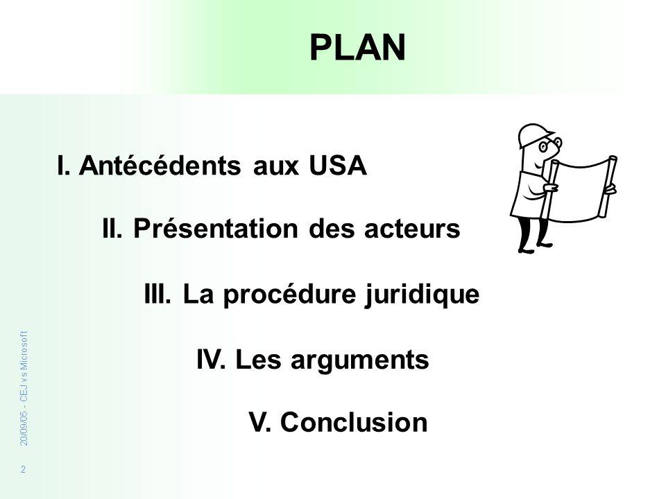 2 20/09/05 - CEJ vs Microsoft PLAN I. Antécédents aux USA II. Présentation des acteurs III. La procédure juridique IV. Les arguments V. Conclusion