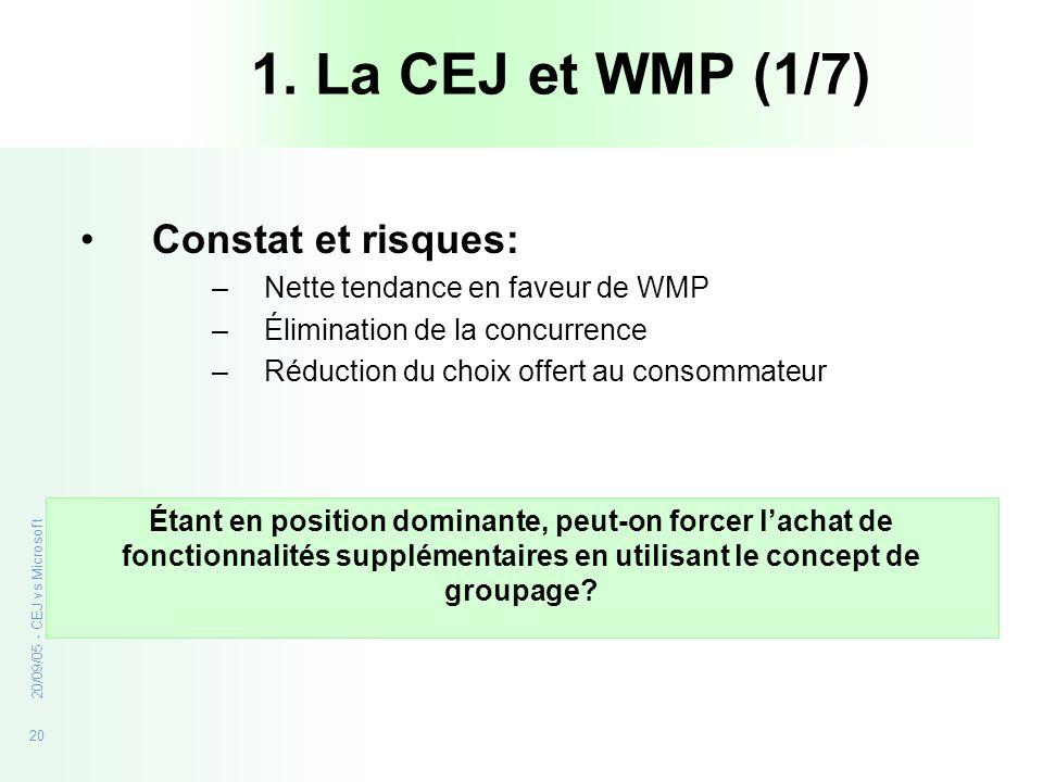 20 20/09/05 - CEJ vs Microsoft 1. La CEJ et WMP (1/7) Constat et risques: –Nette tendance en faveur de WMP –Élimination de la concurrence –Réduction d