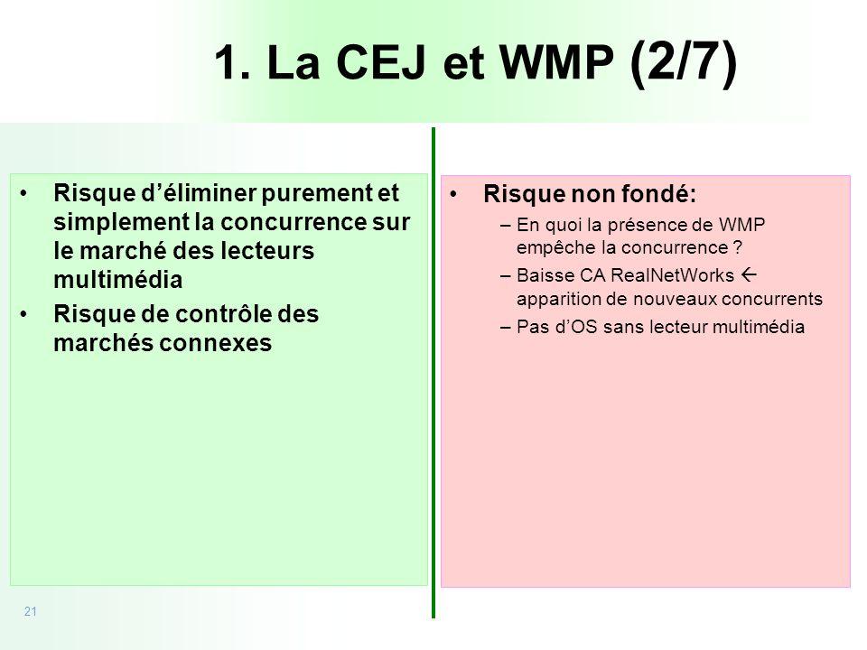 21 20/09/05 - CEJ vs Microsoft Risque déliminer purement et simplement la concurrence sur le marché des lecteurs multimédia Risque de contrôle des mar