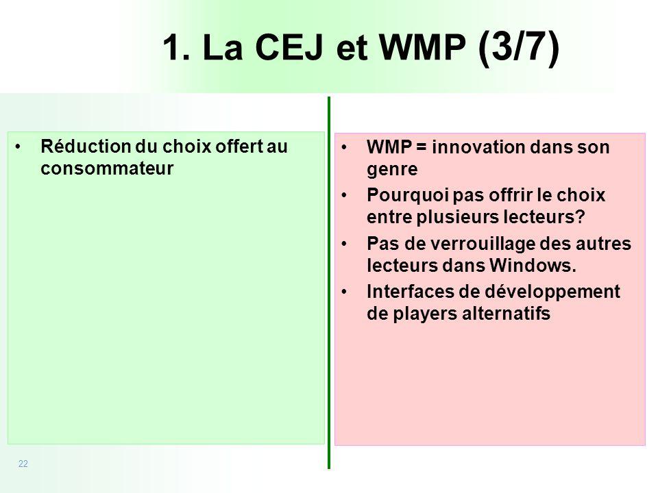 22 20/09/05 - CEJ vs Microsoft Réduction du choix offert au consommateur WMP = innovation dans son genre Pourquoi pas offrir le choix entre plusieurs