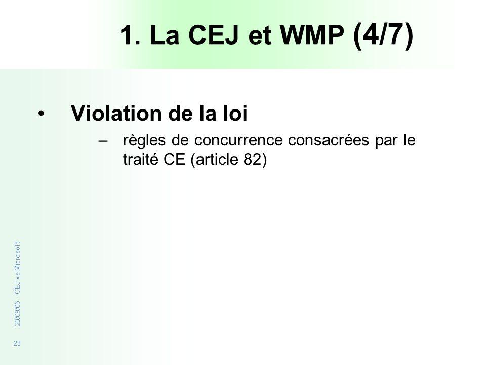 23 20/09/05 - CEJ vs Microsoft Violation de la loi –règles de concurrence consacrées par le traité CE (article 82) 1. La CEJ et WMP (4/7)