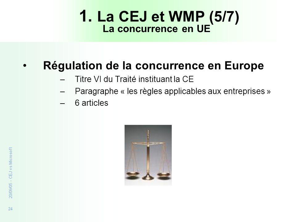 24 20/09/05 - CEJ vs Microsoft 1. La CEJ et WMP (5/7) Régulation de la concurrence en Europe –Titre VI du Traité instituant la CE –Paragraphe « les rè