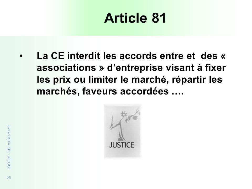 25 20/09/05 - CEJ vs Microsoft Article 81 La CE interdit les accords entre et des « associations » dentreprise visant à fixer les prix ou limiter le m