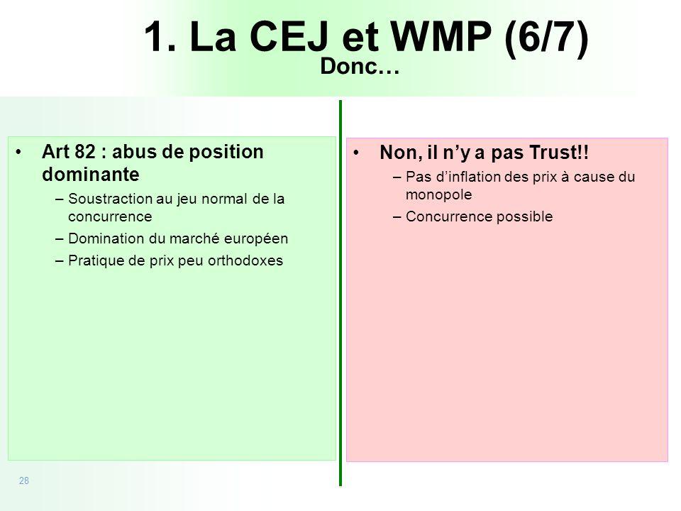 28 20/09/05 - CEJ vs Microsoft Art 82 : abus de position dominante –Soustraction au jeu normal de la concurrence –Domination du marché européen –Prati