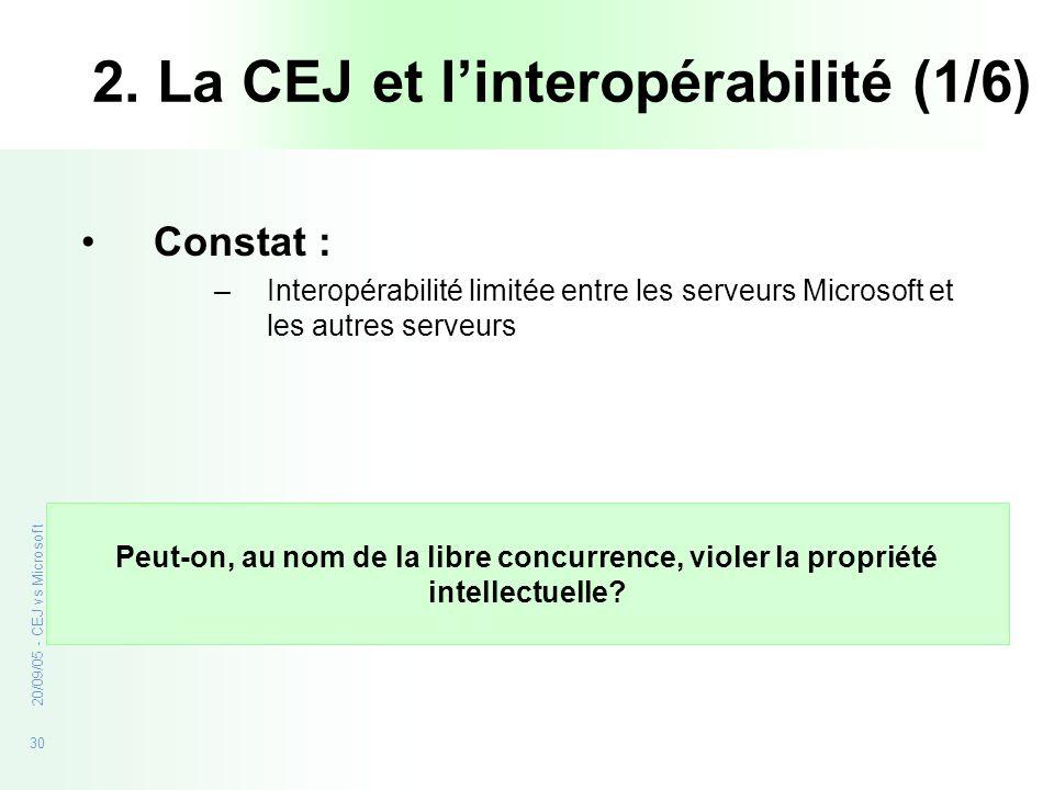 30 20/09/05 - CEJ vs Microsoft Constat : –Interopérabilité limitée entre les serveurs Microsoft et les autres serveurs Peut-on, au nom de la libre con