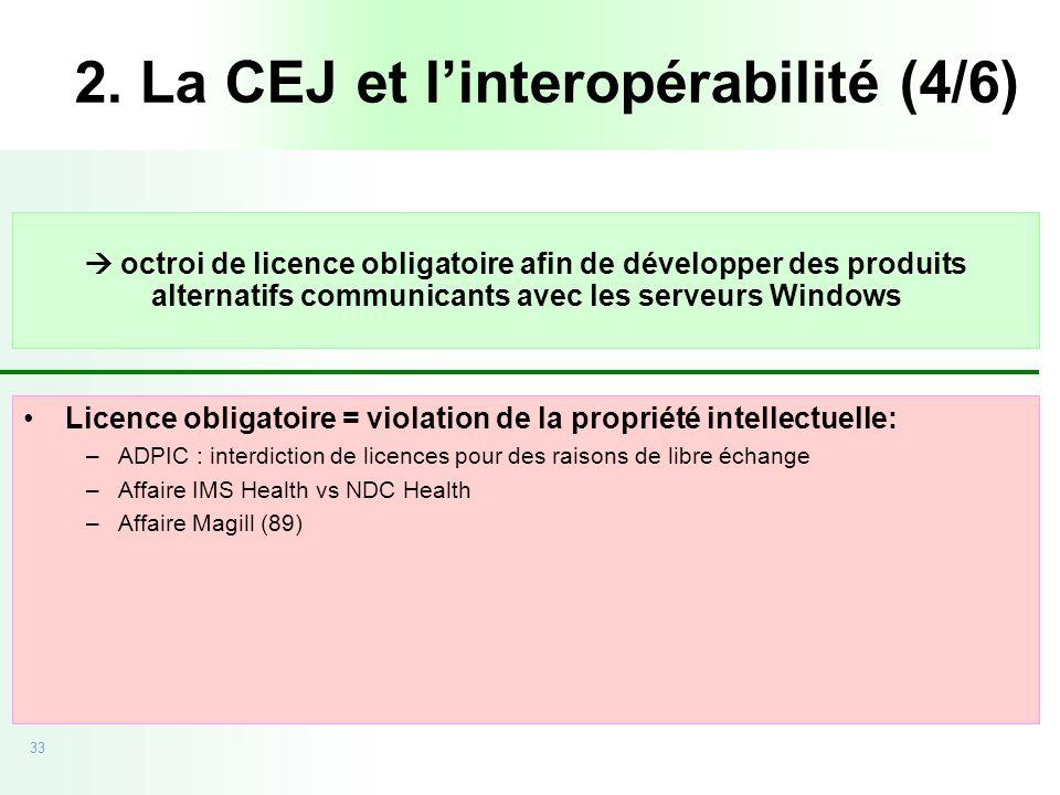 33 20/09/05 - CEJ vs Microsoft octroi de licence obligatoire afin de développer des produits alternatifs communicants avec les serveurs Windows Licenc
