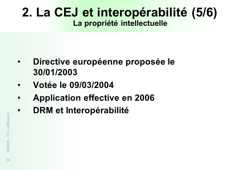 34 20/09/05 - CEJ vs Microsoft Directive européenne proposée le 30/01/2003 Votée le 09/03/2004 Application effective en 2006 DRM et Interopérabilité L