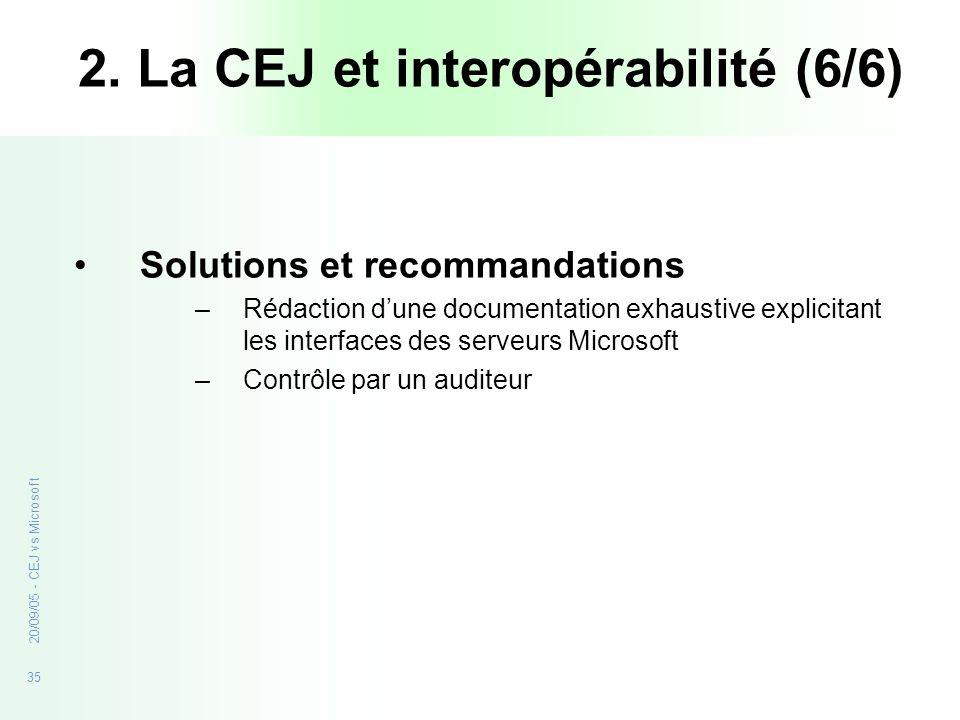 35 20/09/05 - CEJ vs Microsoft 2. La CEJ et interopérabilité (6/6) Solutions et recommandations –Rédaction dune documentation exhaustive explicitant l
