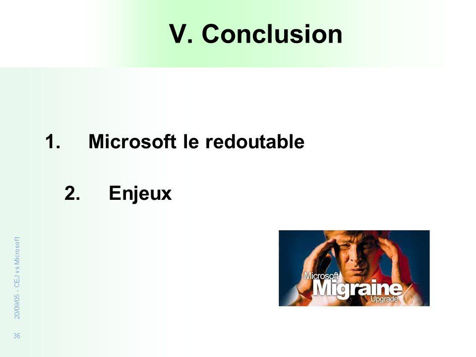 36 20/09/05 - CEJ vs Microsoft V. Conclusion 1.Microsoft le redoutable 2. Enjeux
