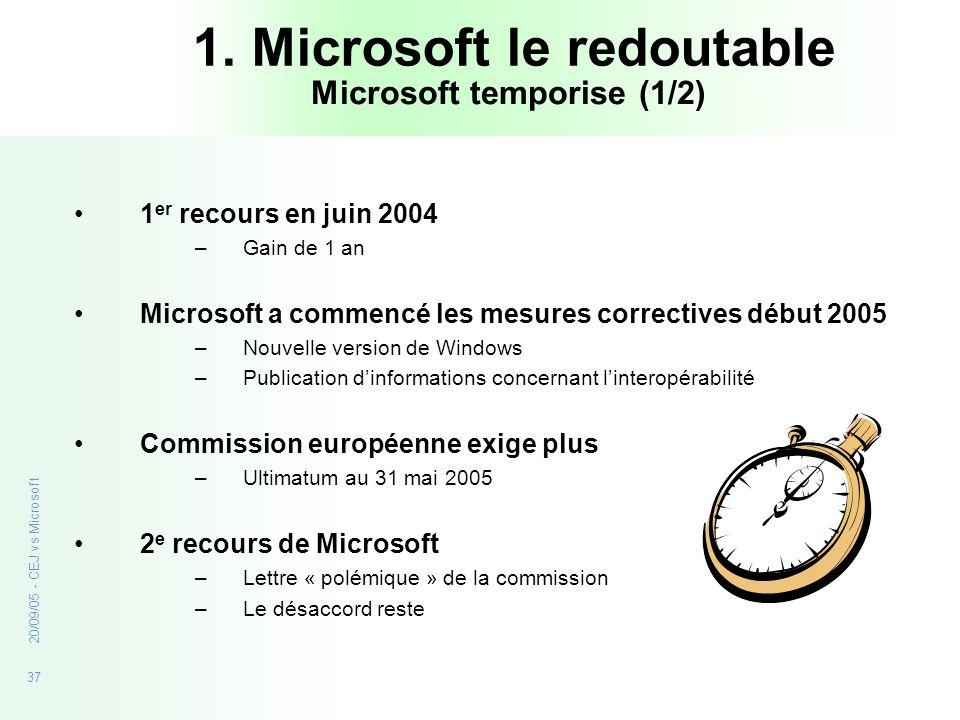 37 20/09/05 - CEJ vs Microsoft 1. Microsoft le redoutable 1 er recours en juin 2004 –Gain de 1 an Microsoft a commencé les mesures correctives début 2