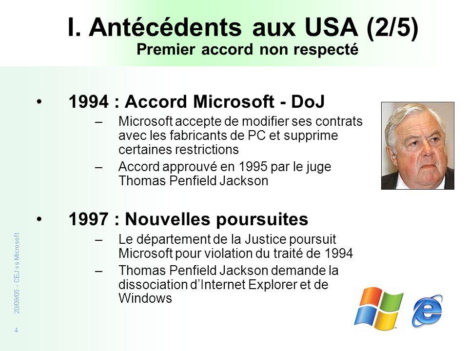 4 20/09/05 - CEJ vs Microsoft I. Antécédents aux USA (2/5) 1994 : Accord Microsoft - DoJ –Microsoft accepte de modifier ses contrats avec les fabrican