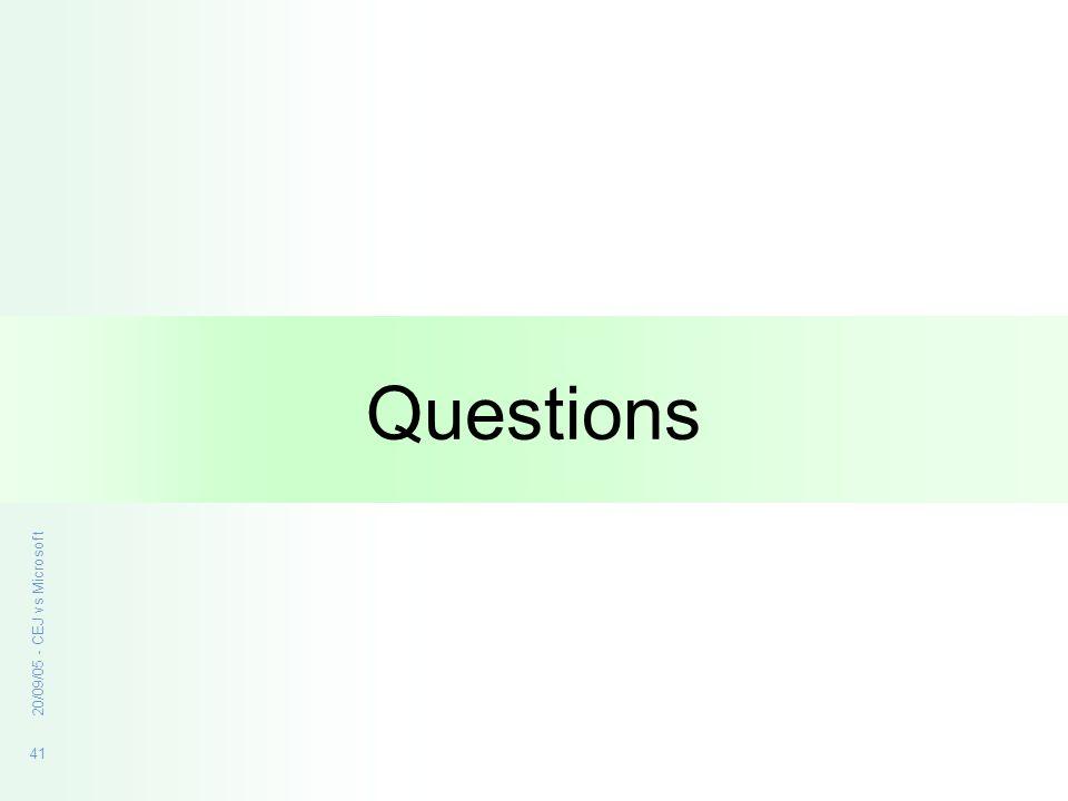 41 20/09/05 - CEJ vs Microsoft Questions