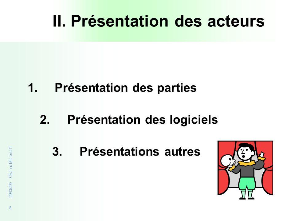 8 20/09/05 - CEJ vs Microsoft II. Présentation des acteurs 1.Présentation des parties 2. Présentation des logiciels 3. Présentations autres
