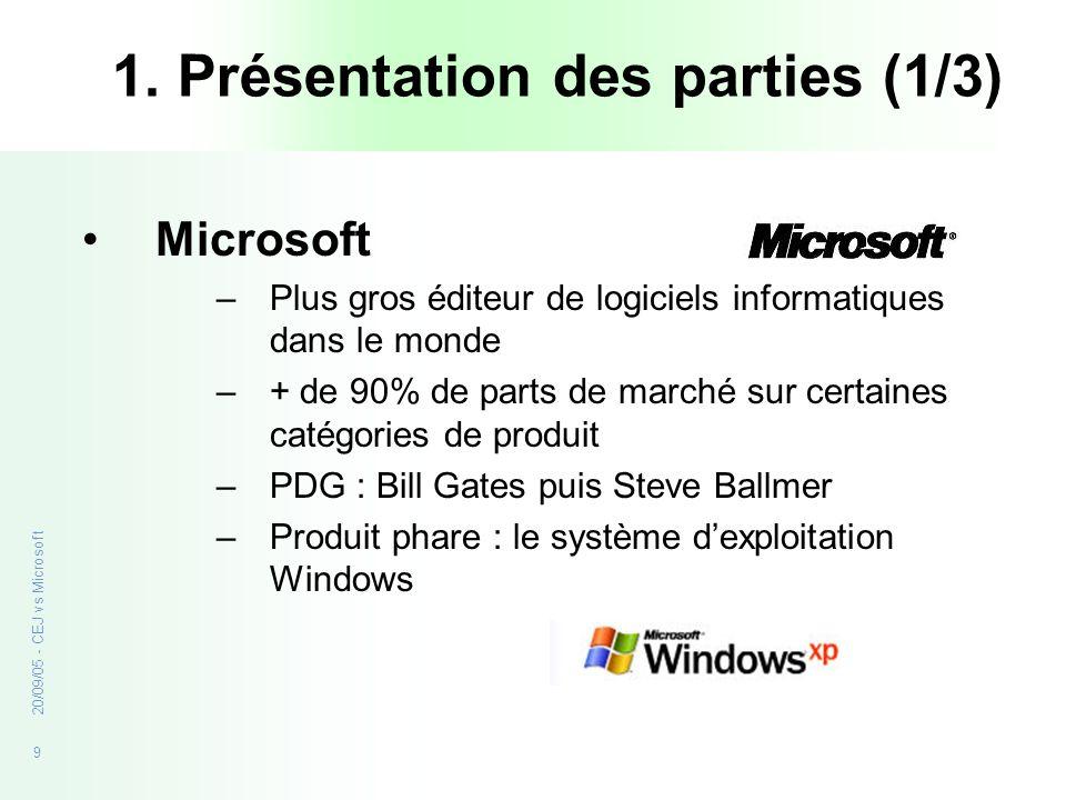 9 20/09/05 - CEJ vs Microsoft 1. Présentation des parties (1/3) Microsoft –Plus gros éditeur de logiciels informatiques dans le monde –+ de 90% de par