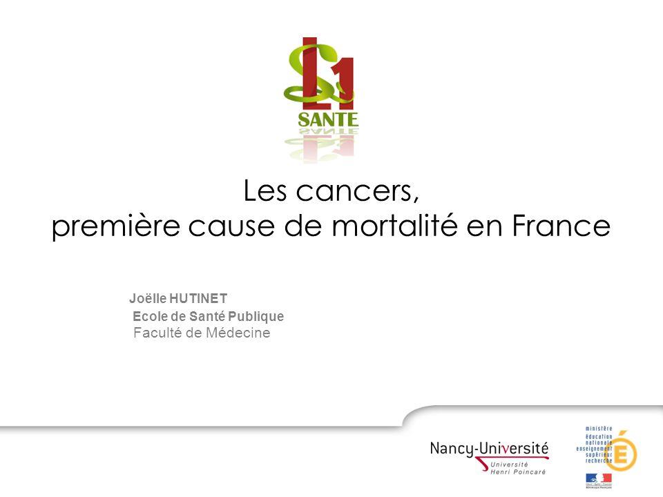 Joëlle HUTINET Ecole de Santé Publique Faculté de Médecine Les cancers, première cause de mortalité en France