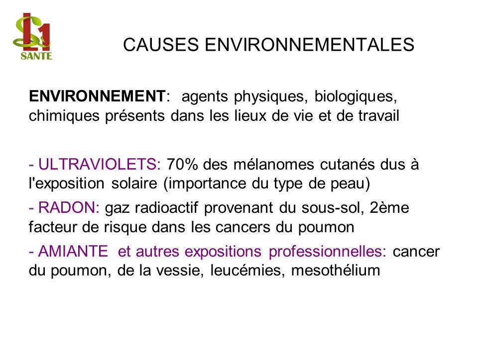 CAUSES ENVIRONNEMENTALES ENVIRONNEMENT: agents physiques, biologiques, chimiques présents dans les lieux de vie et de travail - ULTRAVIOLETS: 70% des