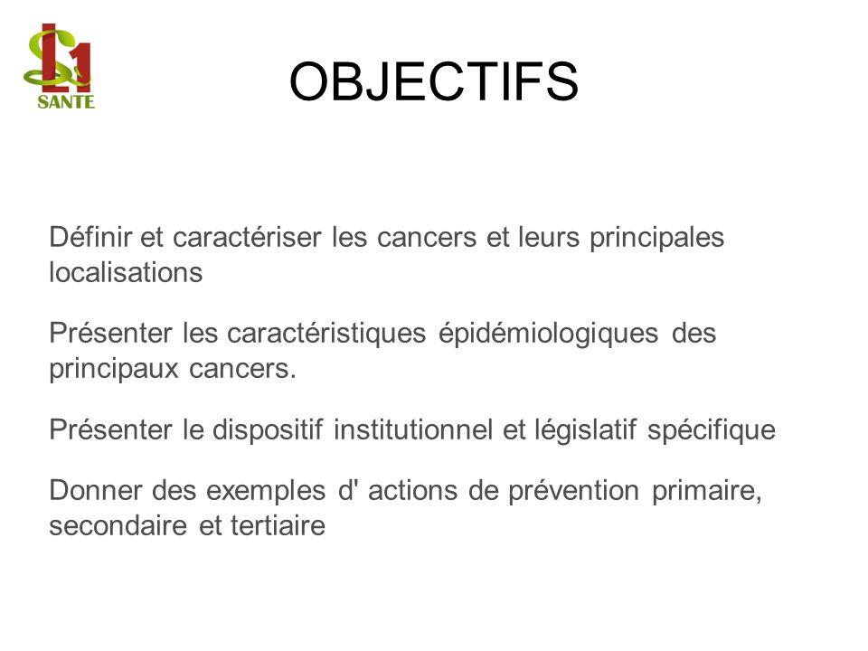 Définir et caractériser les cancers et leurs principales localisations Présenter les caractéristiques épidémiologiques des principaux cancers. Présent