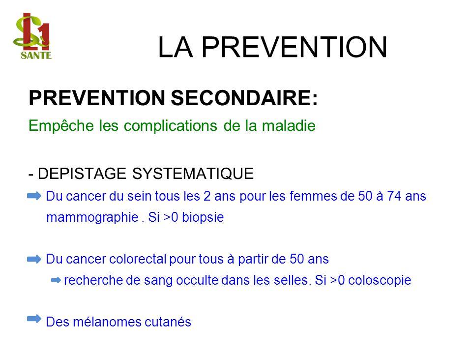 LA PREVENTION PREVENTION SECONDAIRE: Empêche les complications de la maladie - DEPISTAGE SYSTEMATIQUE Du cancer du sein tous les 2 ans pour les femmes