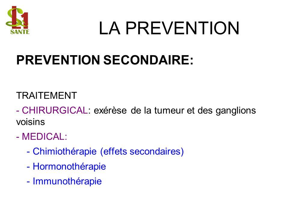 LA PREVENTION PREVENTION SECONDAIRE: TRAITEMENT - CHIRURGICAL: exérèse de la tumeur et des ganglions voisins - MEDICAL: - Chimiothérapie (effets secon