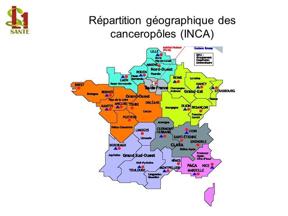 Répartition géographique des canceropôles (INCA)