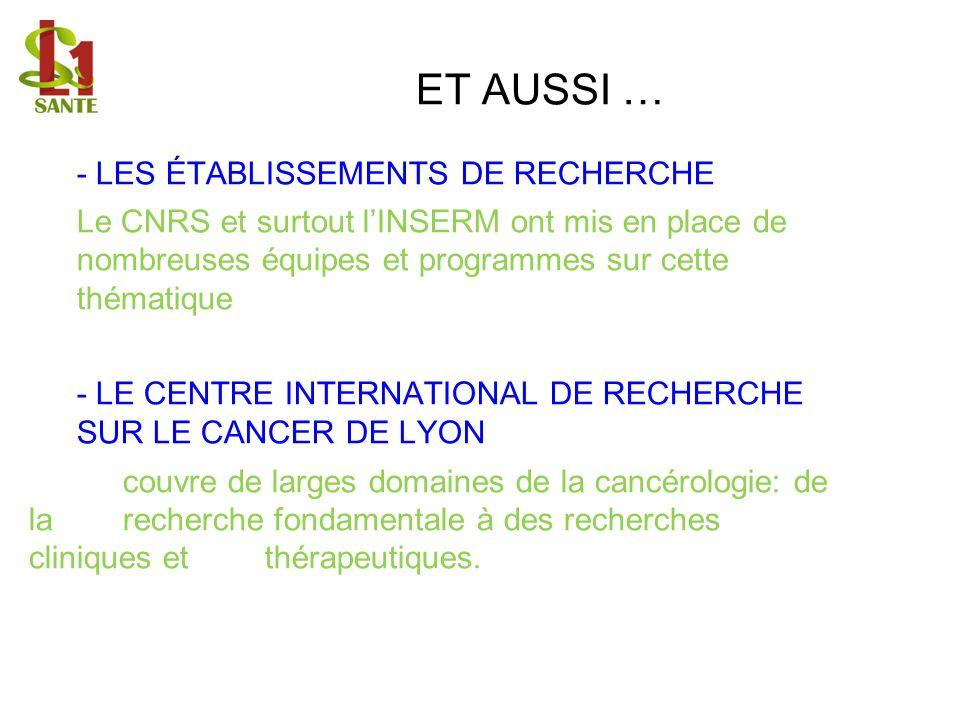 ET AUSSI … - LES ÉTABLISSEMENTS DE RECHERCHE Le CNRS et surtout lINSERM ont mis en place de nombreuses équipes et programmes sur cette thématique - LE