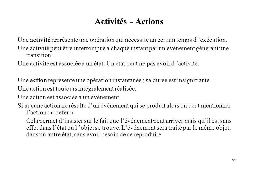 109 Activités - Actions Une activité représente une opération qui nécessite un certain temps d exécution. Une activité peut être interrompue à chaque