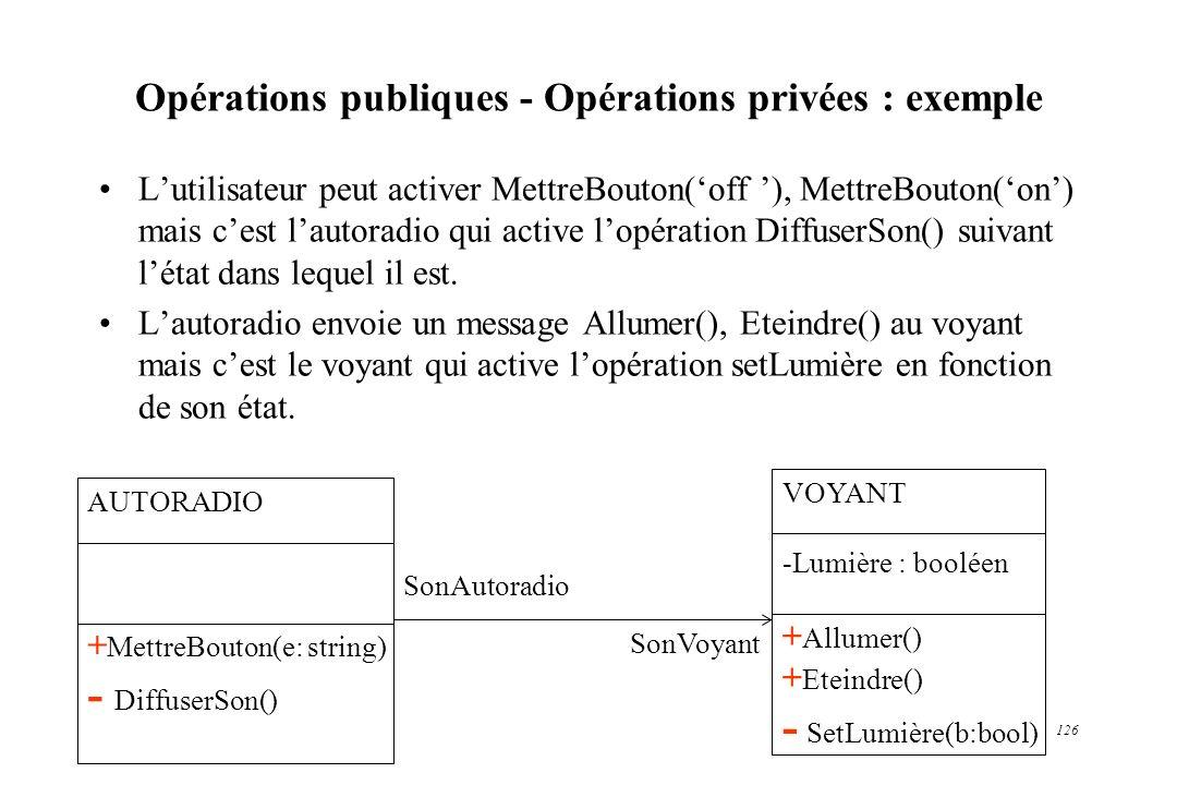 126 Opérations publiques - Opérations privées : exemple Lutilisateur peut activer MettreBouton(off ), MettreBouton(on) mais cest lautoradio qui active