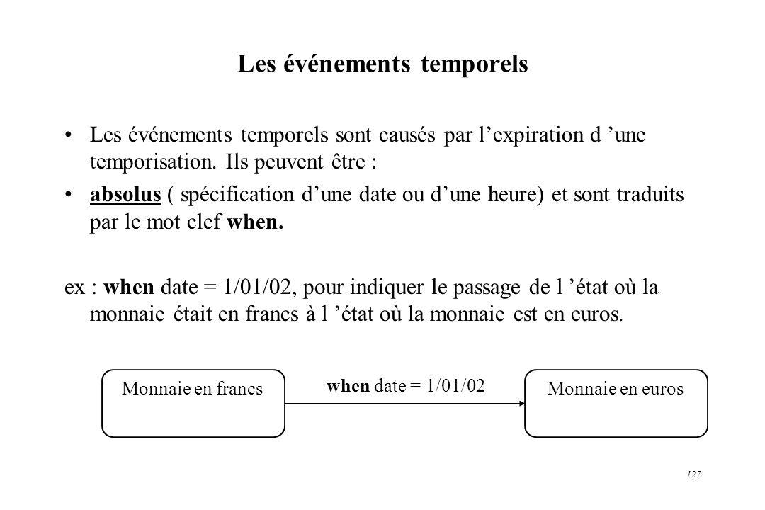 127 Les événements temporels Les événements temporels sont causés par lexpiration d une temporisation. Ils peuvent être : absolus ( spécification dune