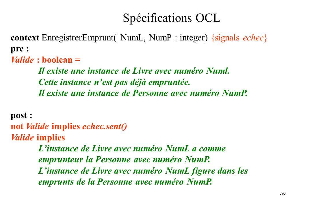 165 Spécifications OCL context EnregistrerEmprunt( NumL, NumP : integer) {signals echec} pre : Valide : boolean = Il existe une instance de Livre avec