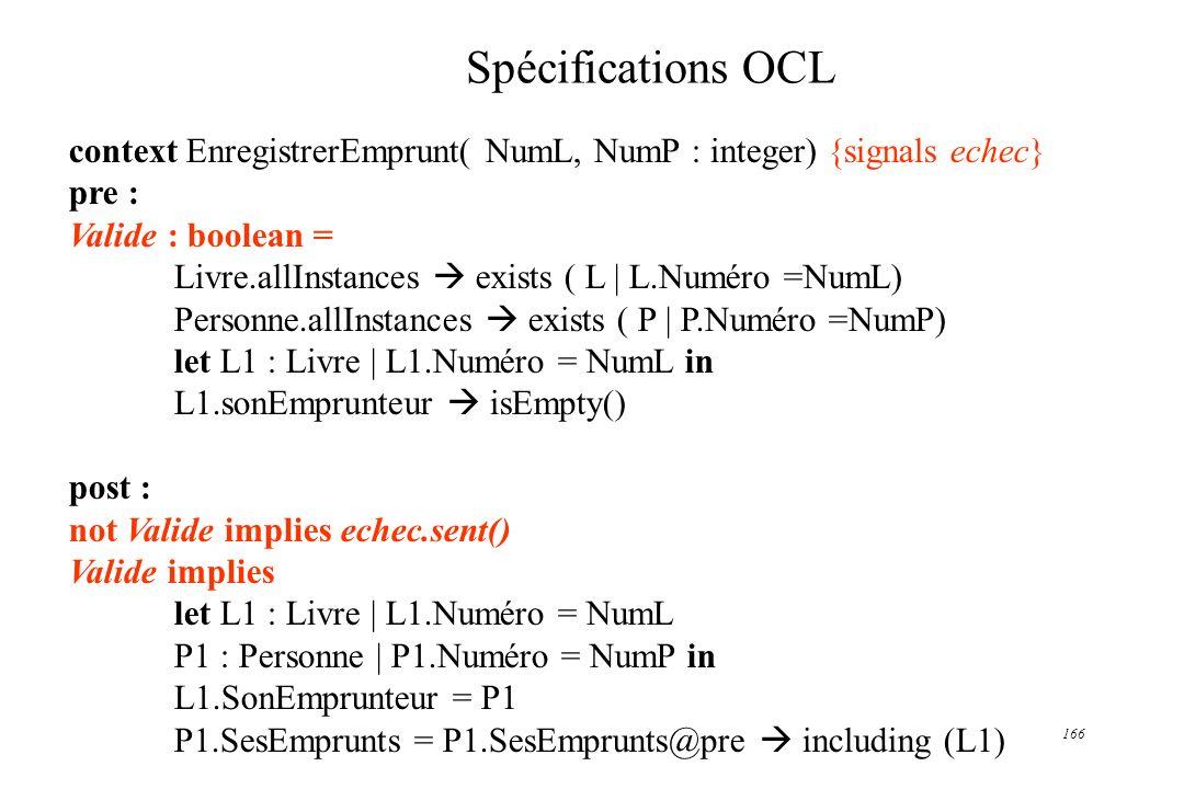 166 Spécifications OCL context EnregistrerEmprunt( NumL, NumP : integer) {signals echec} pre : Valide : boolean = Livre.allInstances exists ( L | L.Nu