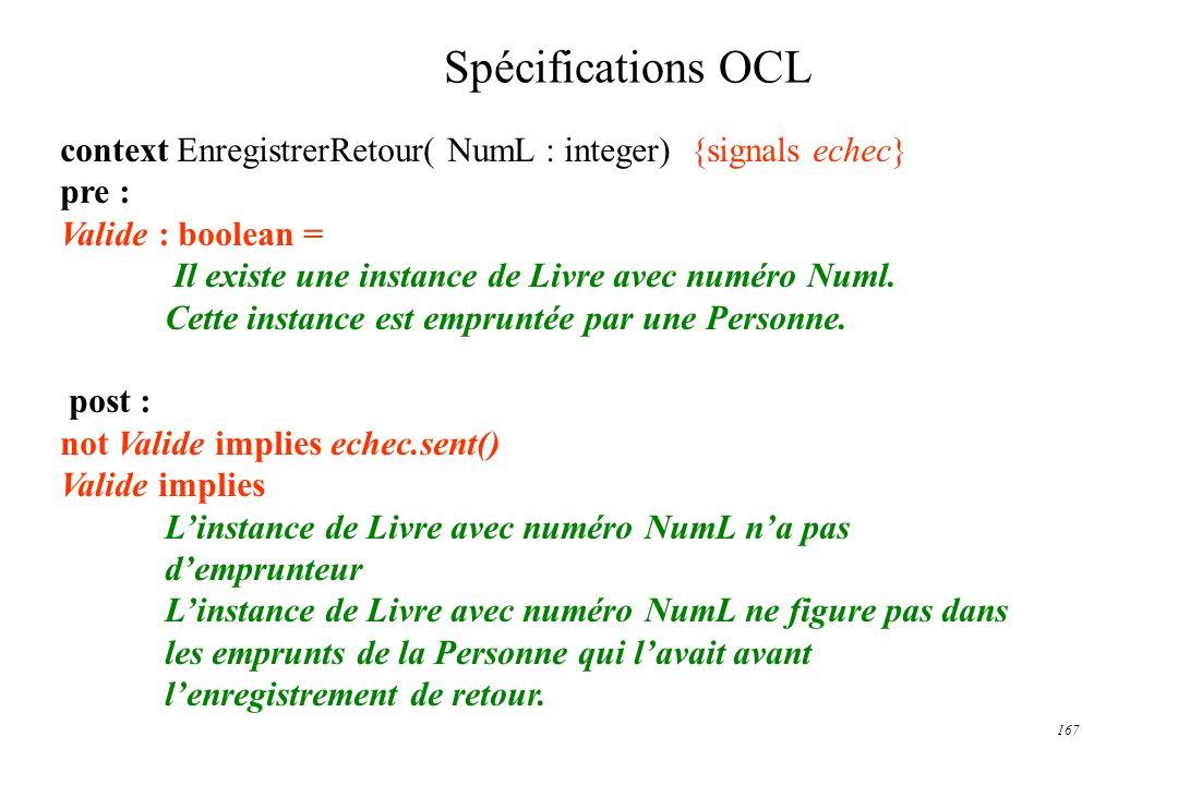 167 Spécifications OCL context EnregistrerRetour( NumL : integer) {signals echec} pre : Valide : boolean = Il existe une instance de Livre avec numéro