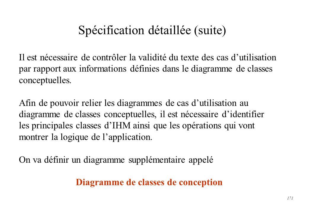 171 Spécification détaillée (suite) Il est nécessaire de contrôler la validité du texte des cas dutilisation par rapport aux informations définies dan