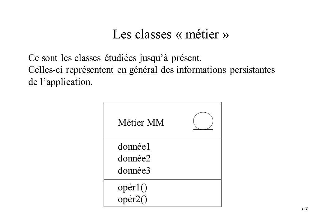 173 Les classes « métier » Ce sont les classes étudiées jusquà présent. Celles-ci représentent en général des informations persistantes de lapplicatio