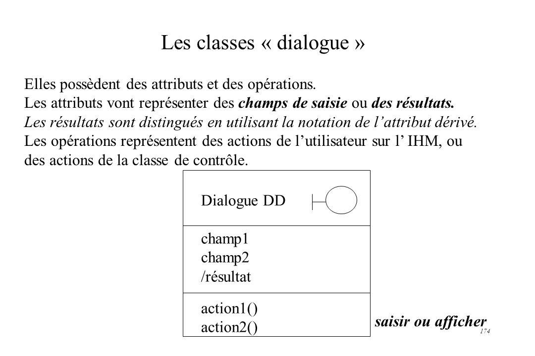 174 Les classes « dialogue » Elles possèdent des attributs et des opérations. Les attributs vont représenter des champs de saisie ou des résultats. Le