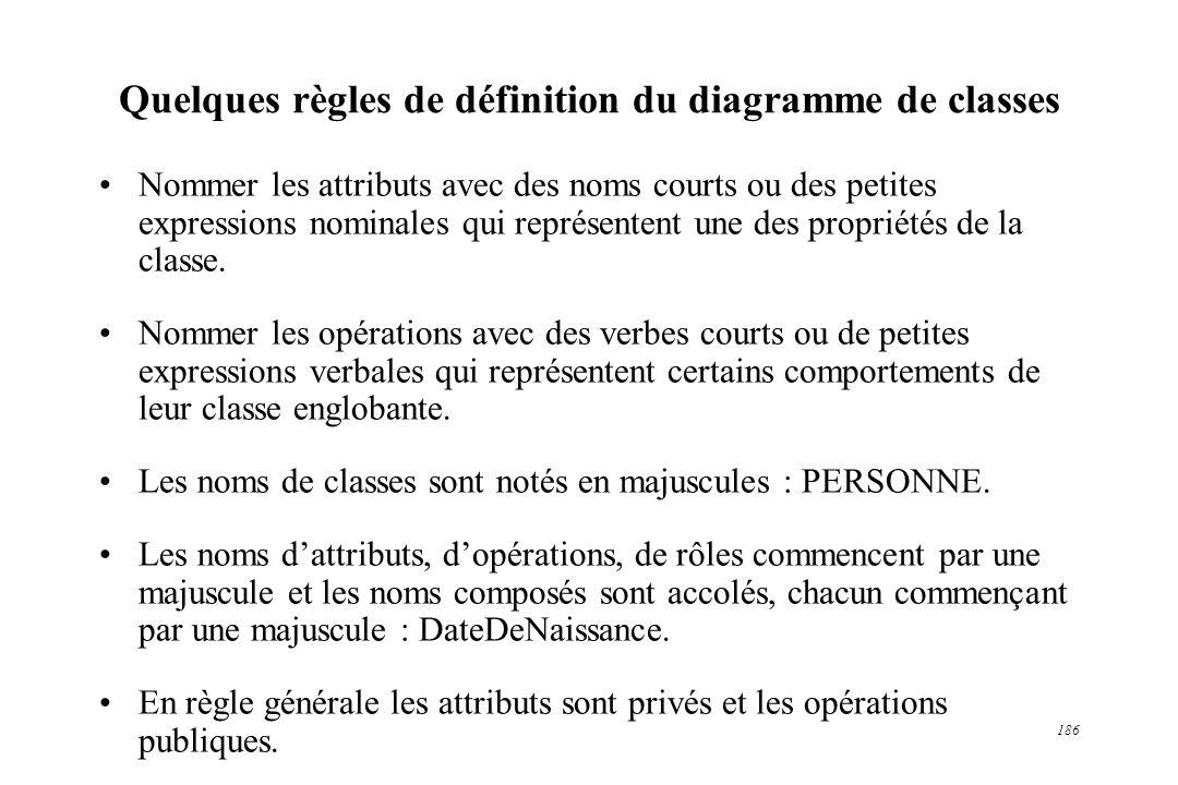 186 Quelques règles de définition du diagramme de classes Nommer les attributs avec des noms courts ou des petites expressions nominales qui représent