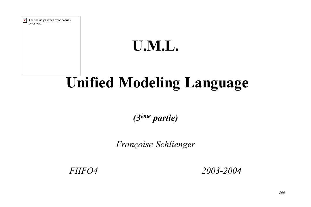 200 U.M.L. Unified Modeling Language (3 ème partie) Françoise Schlienger FIIFO4 2003-2004