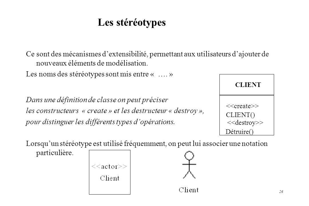 26 Les stéréotypes Ce sont des mécanismes dextensibilité, permettant aux utilisateurs dajouter de nouveaux éléments de modélisation. Les noms des stér