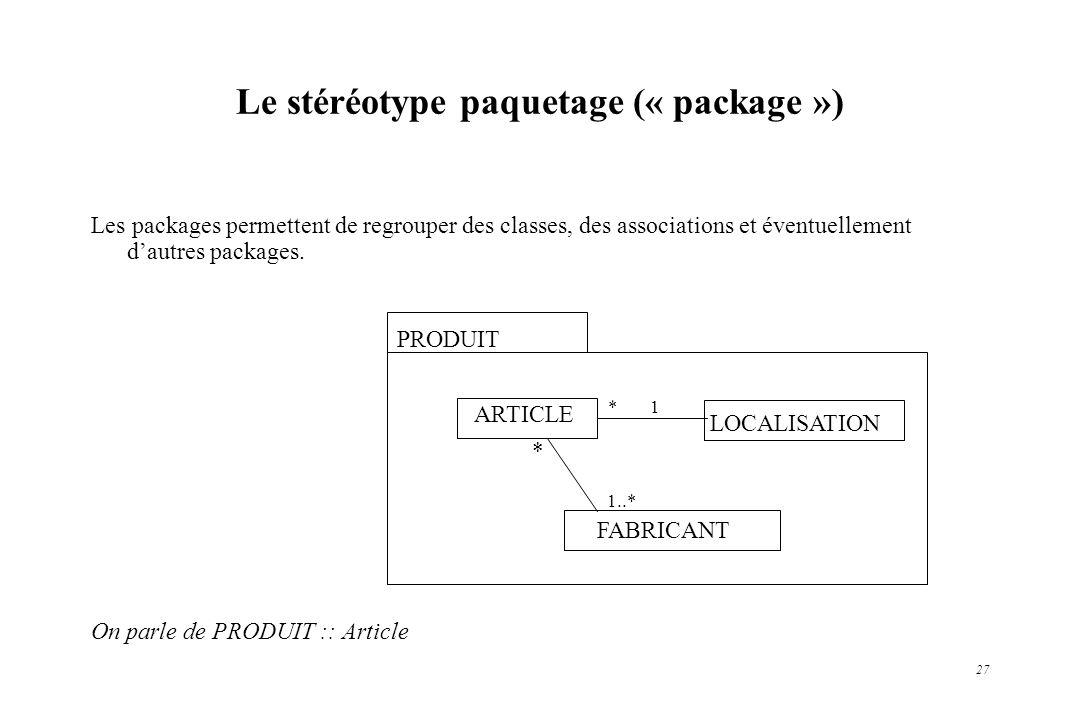 27 Le stéréotype paquetage (« package ») Les packages permettent de regrouper des classes, des associations et éventuellement dautres packages. On par