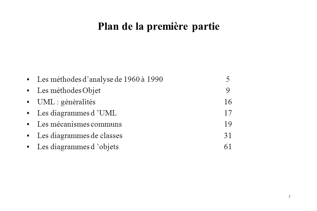 3 Plan de la première partie Les méthodes danalyse de 1960 à 1990 5 Les méthodes Objet 9 UML : généralités16 Les diagrammes d UML17 Les mécanismes com