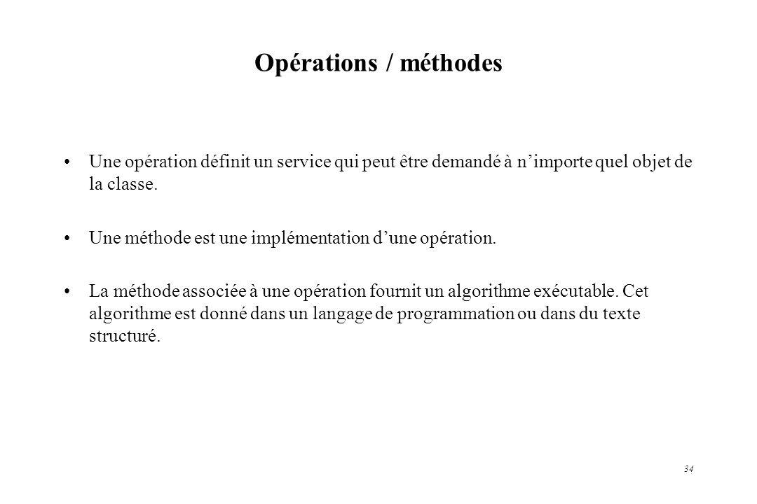 34 Opérations / méthodes Une opération définit un service qui peut être demandé à nimporte quel objet de la classe. Une méthode est une implémentation
